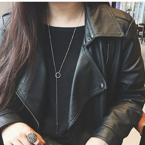 Fashion new silver jewelry circle strip long chain pendants and necklaces forintothea-intothea