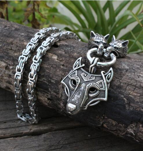 Men stainless steel necklace viking wolf head with Odin by Helena Rosovaintothea-intothea