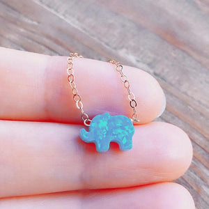 Silver Opal Charm Necklace, Elephant Opal Necklace, Silver Elephant Necklace XL1121intothea-intothea