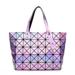Laser Women Dazzle Color Plaid Tote Casual Bags Female Fold Over Handbagsintothea-intothea