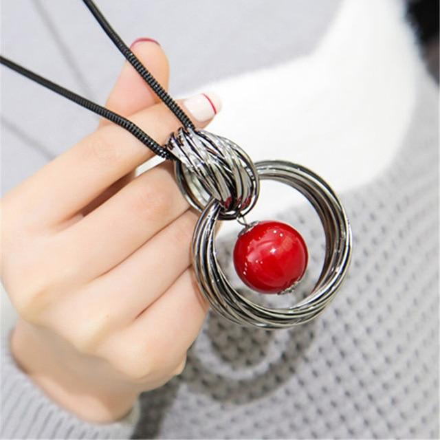 Red White Pearl Ball Pendant Long Necklaces New Circles Simulated Women Blackintothea-intothea