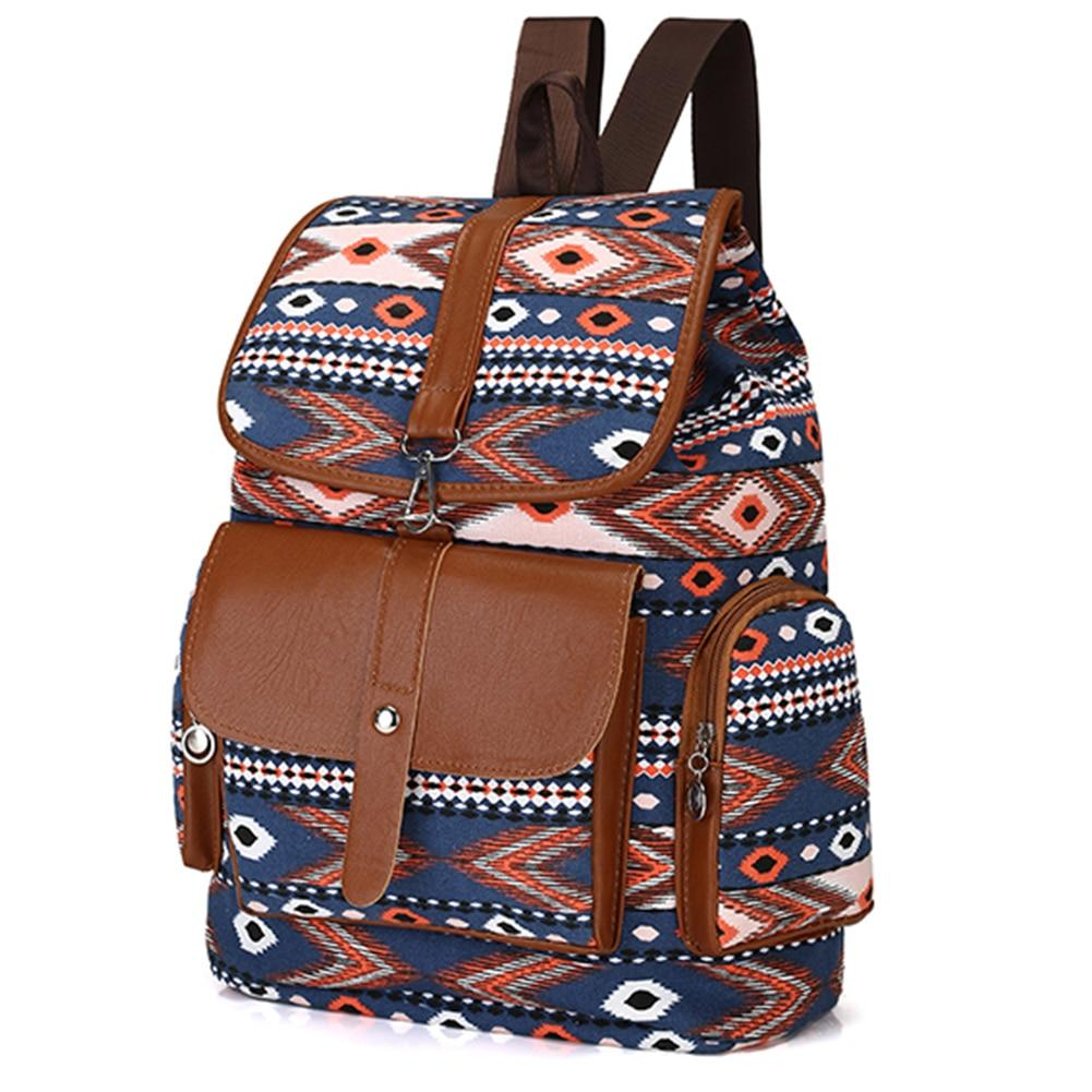 Women Vintage Ethnic Canvas Backpack Fashion School Bag for Teenage Girls Casualintothea-intothea