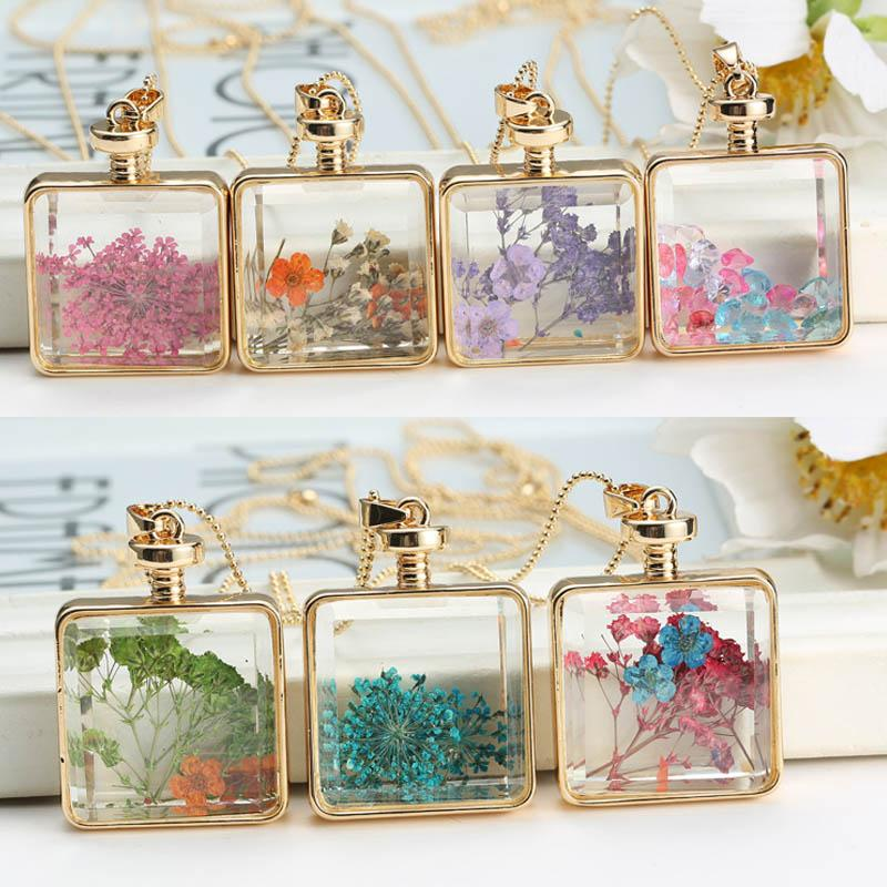 New statement chain necklace for women original glass DIY natural dried flowersintothea-intothea