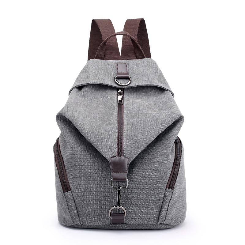 Fashion Casual Canvas Women Backpack Solid Large Capacity Female Backpacks Brand Designerintothea-intothea