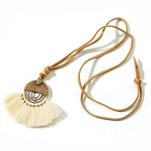 Ethnic Long Leather Women's necklaces Bohemia Round Hollow Tassel necklace for womenintothea-intothea