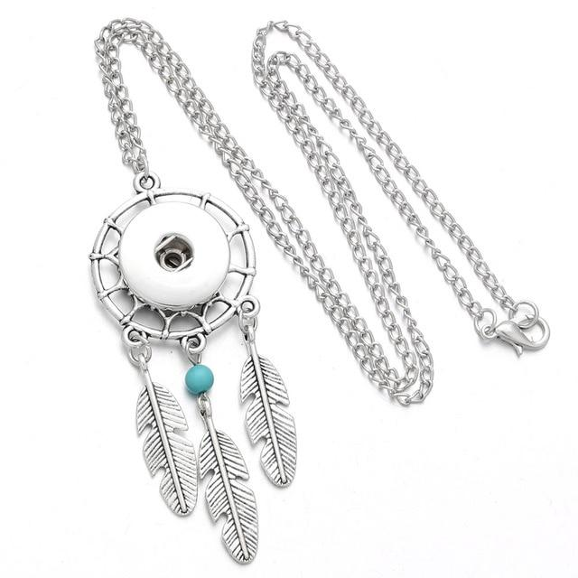 Bohemian Ethnic Style Necklaces Feather Tassels Snap Button Necklace Fit 18mm Snapintothea-intothea
