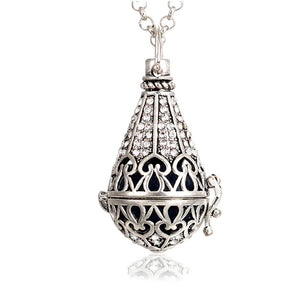 1pc Vintage Silver Hollow Water Drop with Crystal Copper Open Beads Cageintothea-intothea