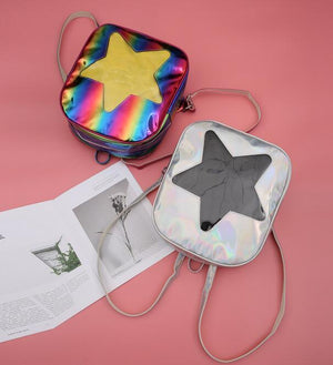 Women Hologram Laser Transparent STAR Shape Kpop Ulzzang Harajuku Backpacks Lolita Itaintothea-intothea