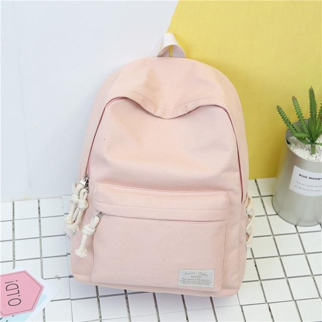 New Solid Color Canvas Backpack Women Casual Rucksacks College Student Schoolintothea-intothea