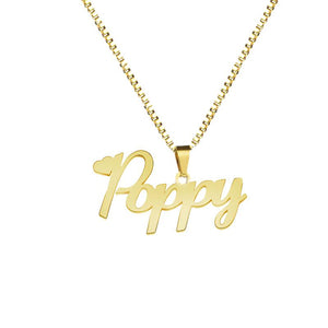 Custom Name Necklace With Box Chain Handmade Personalized Any Letter Pendant Stainlessintothea-intothea