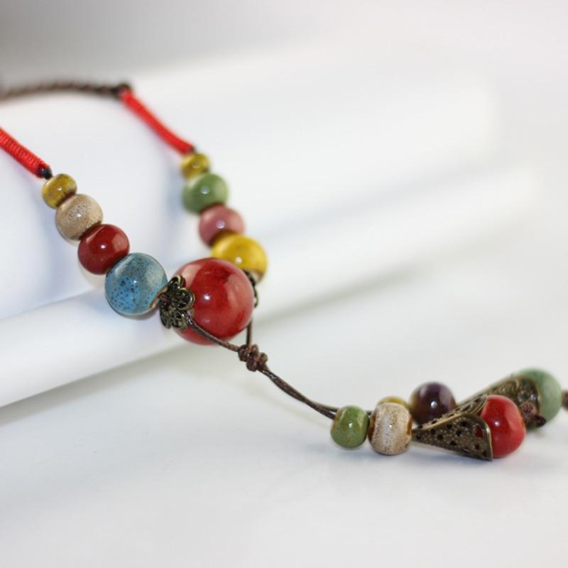 Ceramic Colorful Beads Pendants Necklace For Women Jewelry Long Chain Tassel Chokerintothea-intothea