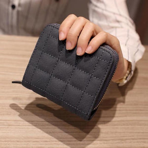 Women Short Wallets PU Leather Female Plaid Purses Coin Purse Cardintothea-intothea