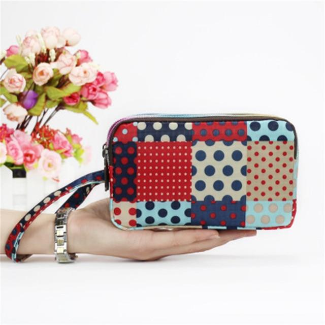 Fashion Women Wallet Canvas 3 - Layer Zipper Large Capacity Day Clutchintothea-intothea