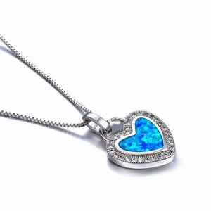 Fashion Blue Artificial Fire Opal Heart Pendant Necklace Crystal Silver Filled Forintothea-intothea