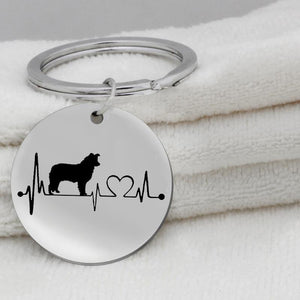Stainless Steel Dog Pendant Necklace Animal Border Collie Dog Heartbeat Necklace Animalintothea-intothea