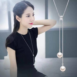 Simple Long Necklace For Women Fashion Simulated Pearl Jewelry Tassel Necklaces &intothea-intothea