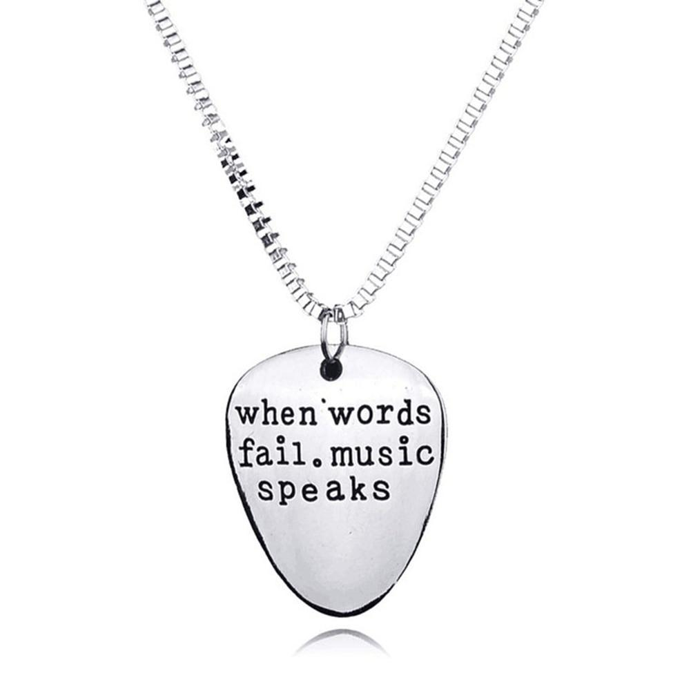 Men Women When Words Fail Music Speaks Guitar Pick Pendant Necklace Jewelryintothea-intothea
