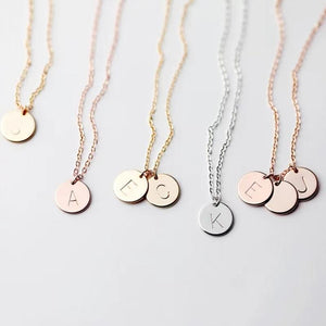 Letters Disk Necklace Handmade Rose Gold Choker 10mm Pendant Kolye Collares Jewelryintothea-intothea