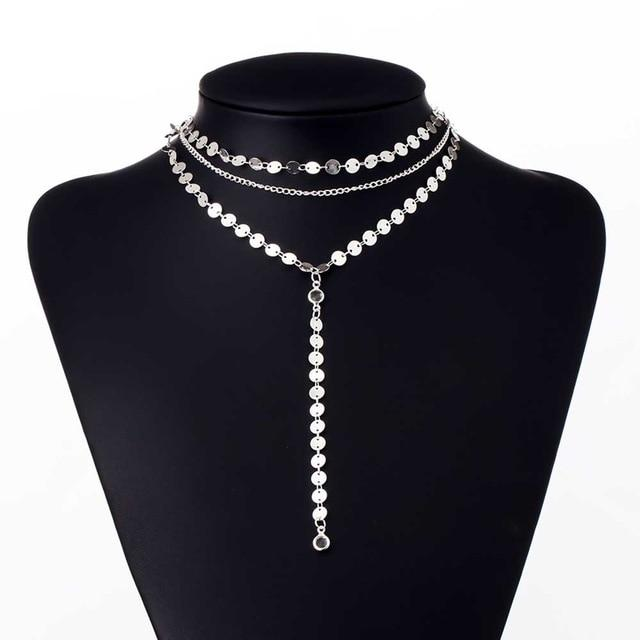 Sexy fashion Sequins Rhinestone Choker Necklace Women Long Chain Chocker Bodyintothea-intothea