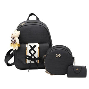 3pcs/Set Women Backpack Fashipn PU Leather Lace Up Backpack for Teenager Girlsintothea-intothea