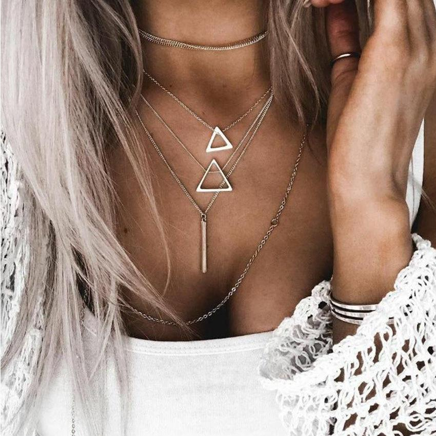 Silver Chain Multi layer Bar Choker Necklace For Women Triangle Chocker Necklacesintothea-intothea