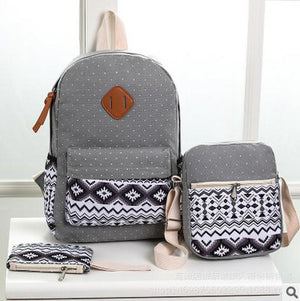 Dot Printing Backpack Women Canvas Notebook Backpack Set Student Bookbags Schoolintothea-intothea