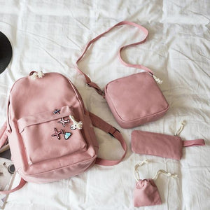 4 pieces 2018 Fashion Canvas Female Backpack Students School Bag Women Daypackintothea-intothea
