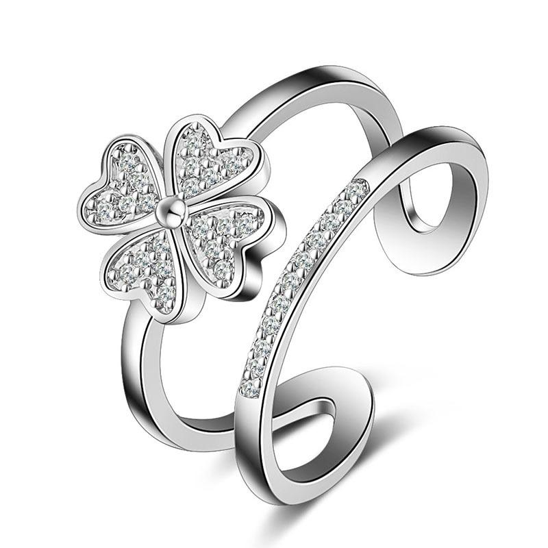 Four Petals Hollow Flower High Quality 925 Sterling Silver Rings forintothea-intothea