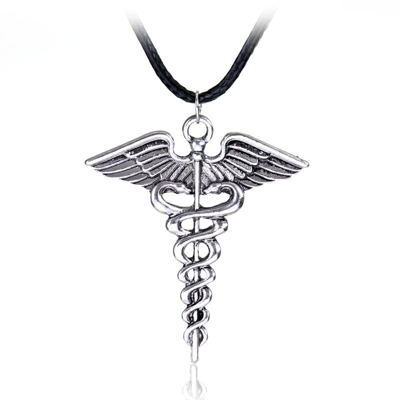Silver Plated Medical Symbol Nurse Doctor Pendant Caduceus Necklace Snakes Wings Necklaceintothea-intothea
