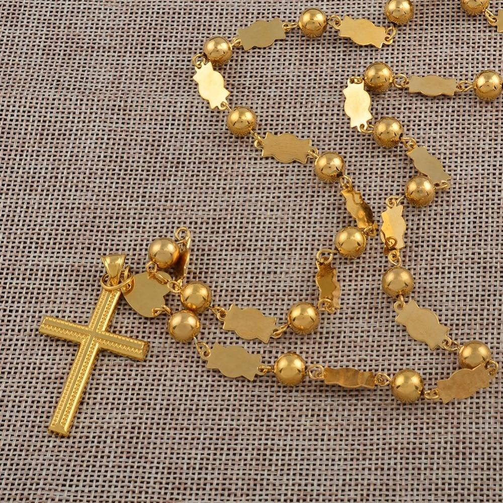 Anniyo Marshall Necklaces Beads Chains With Cross Pendant for Women Gold Colorintothea-intothea