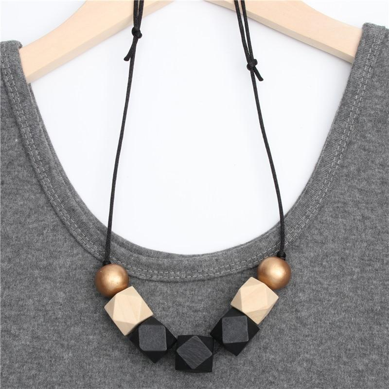 1pc New Wood Geometric Necklace Painted Chunky Faceted Wooden Beads Ball Chunkyintothea-intothea
