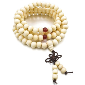 8mm Wood Necklace Tibetan White Sandal 108pcs Beads Buddhist Prayer Bracelet Manintothea-intothea