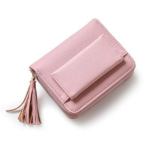 Women's New Tassel Short Solid Color Purse Mini Coin Wallet Credit Cardintothea-intothea