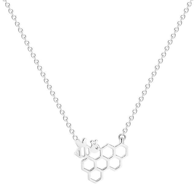 Serotonin Molecule Chemistry DNA Necklace Geometric Polygon Honeycomb Necklace Dopamine Loveintothea-intothea