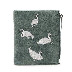 Women wallet Vintage Fashion Female Purse Elegant White Swan Purse leather Smallintothea-intothea