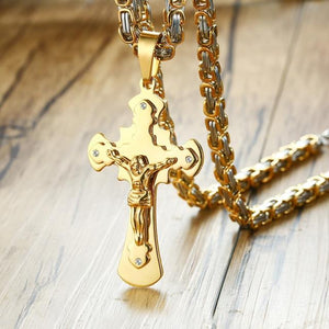 Vnox Cross Necklace For Men Byzantine Gold Silve Stainless Steel Chain Catholicintothea-intothea