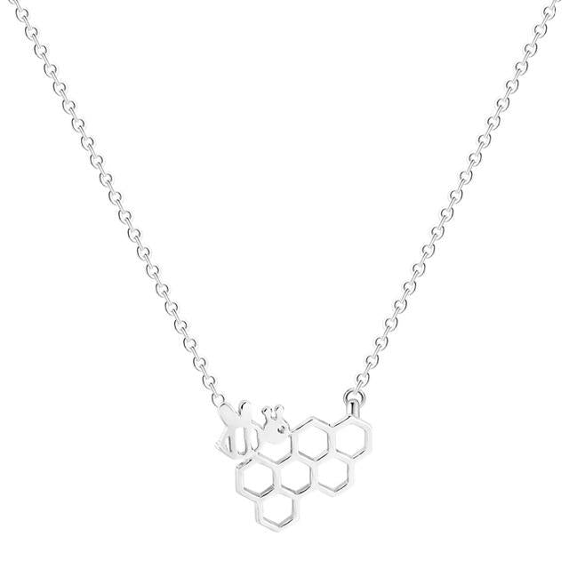 Unique Simple Caffeine Molecule Geometric Polygon Bar Chain Pendant Necklace Womenintothea-intothea