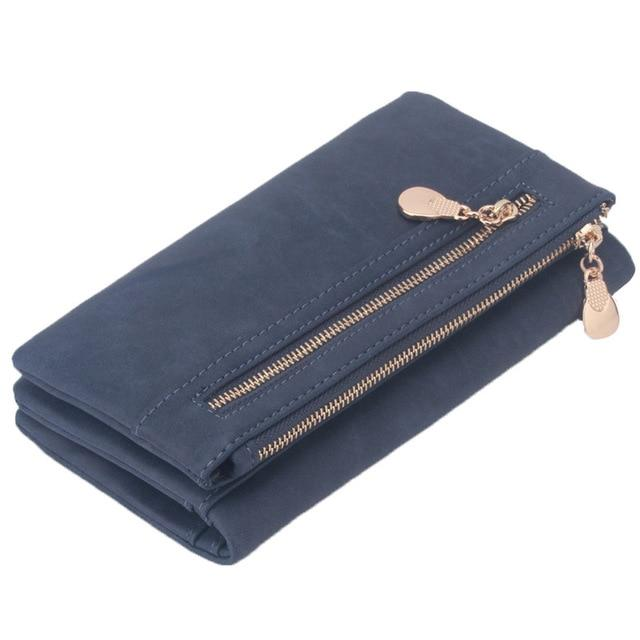 Fashion Women Wallets Dull Polish Leather Wallet Double Zipper Day Wristband Walletintothea-intothea