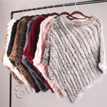 Real Fur Knitted Rabbit Fur Poncho Vest Vest Fashion Wrap Coatintothea-intothea
