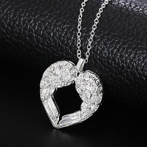 Free shipping Popular Beautiful fashion silver plated jewelry charm Angel wings heartintothea-intothea