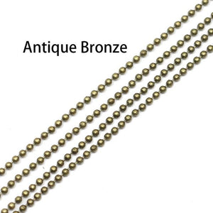 5m/lot 1.2 1.5 2 mm Metal Ball Bead Chains Bulk Gold/Black/Silver Colorintothea-intothea