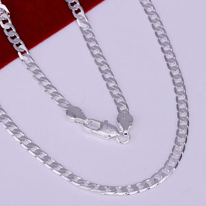 Fashion silver jewelry necklace chain,Men's 4mm 925 Jewelry Silver Plated Necklace Curbintothea-intothea