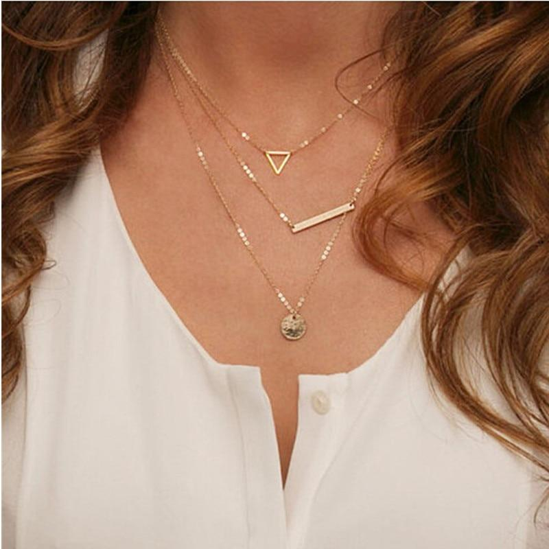 2018 Multilayer Necklaces Triangle Round Fashion Multi Layer Chain Necklace For Womenintothea-intothea