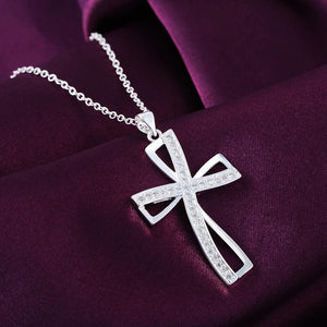 Promotions Hot sale silver for women cyrstal Cross pendant necklace jewelry silverintothea-intothea