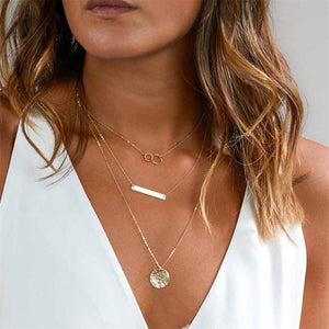 2018 New Fashion Feather Necklace Leaf Layer 3 Necklace Multilayer Necklaceintothea-intothea