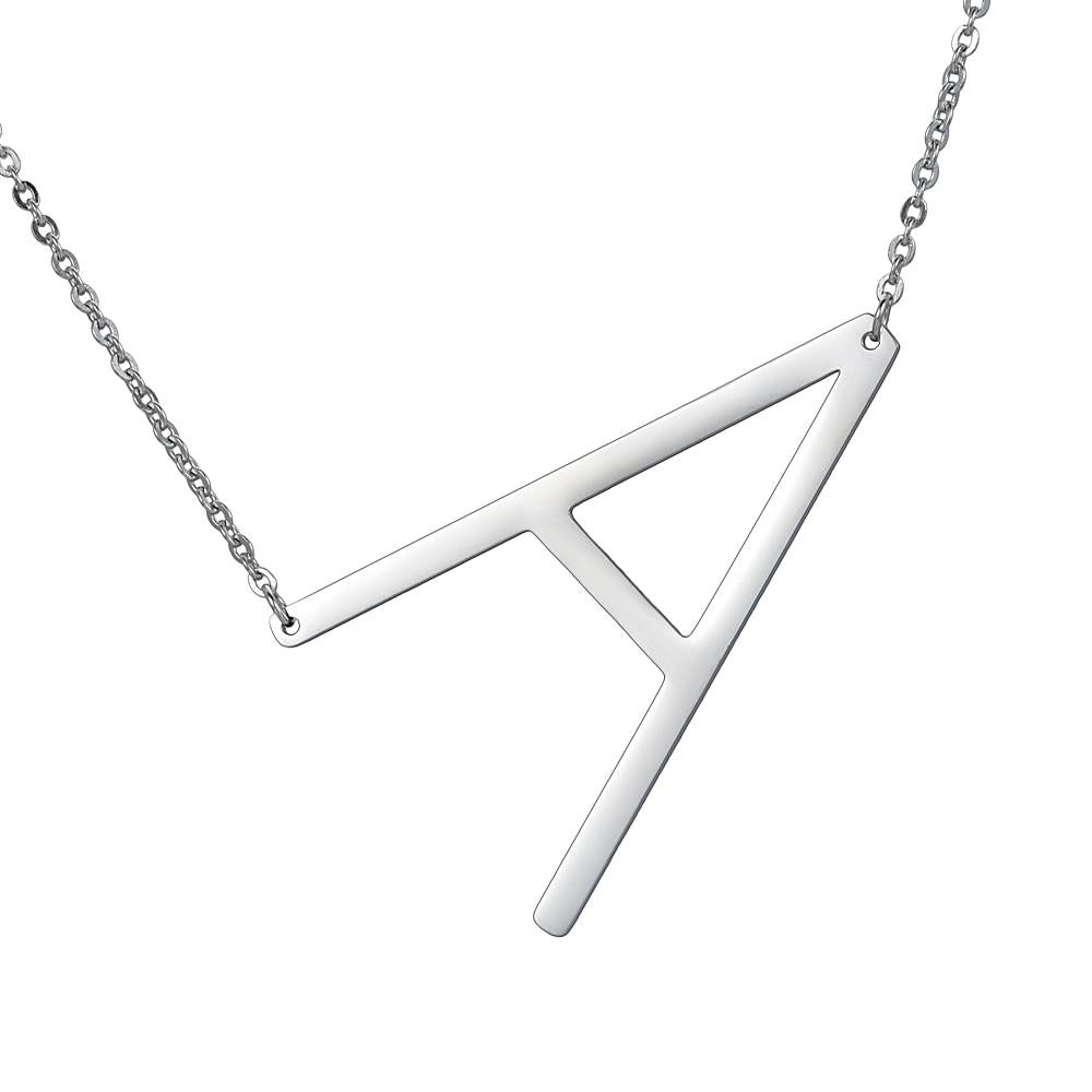 letters necklace silver A to Z pendant stainless steel choker necklace giftintothea-intothea