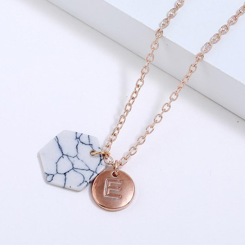 New Fashion Round Initial Two Pendant Initial Letter Necklace Personality Necklace Nameintothea-intothea