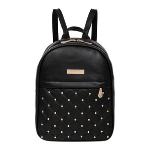 Women Famous Design Backpack Diamonds Rivet Rucksack for Girl Schoolbag Female Stylishintothea-intothea