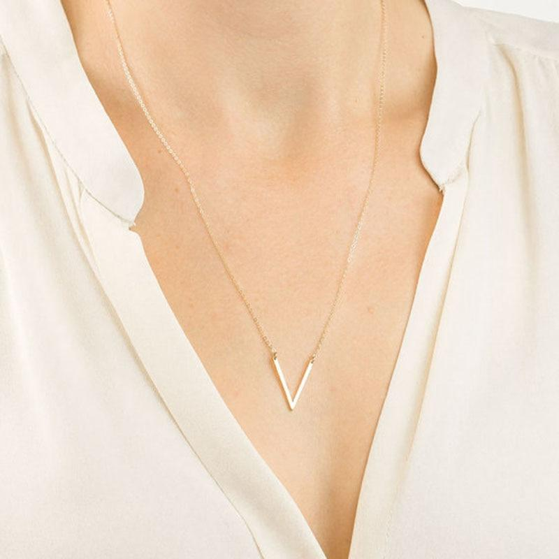 RE New Elegant Long V Necklace Women Gold Silver Color Letter Vintothea-intothea