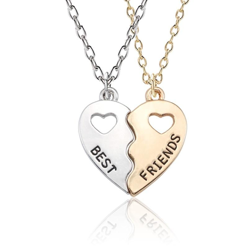 Trendy Best Friends Forever Necklace BFF Necklaces For Women Hollow Broken Loveintothea-intothea